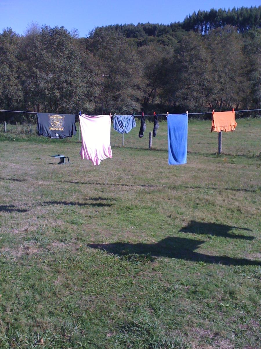 meine Wäsche kurz nach dem Eintreffen in der Albergo, schon wieder gewaschen und auf der Leine